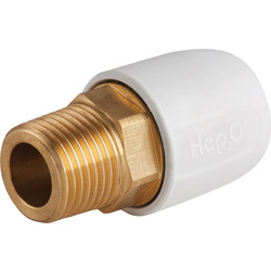 "Hep2O Hep2O Male Adaptor Brass Socket 10mm x 1/2"" - 15459 - from Toolstation"