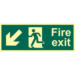 Photoluminescent Fire Exit Sign Arrow Down/Left - 15543 - from Toolstation