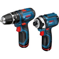 Bosch Bosch GSB 10.8-2-Li + GDR 10.8-Li 10.8V Li-Ion Cordless Twin Pack 2 x 1.3Ah - 15583 - from Toolstation
