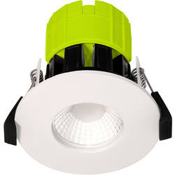 Luceco Luceco FType Integrated Dimmable 6W Fire Rated IP65 Downlight White 600lm 3000K - 15702 - from Toolstation
