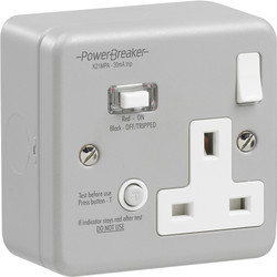 Power Breaker RCD Switched Socket Metalclad 1 Gang 13A 30mA - 15906 - from Toolstation