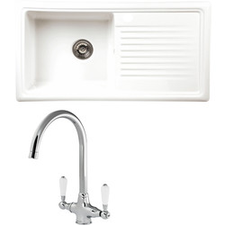 Reginox Reginox Reversible Ceramic Kitchen Sink & Drainer Single Bowl White with Chrome Tap - 15943 - from Toolstation