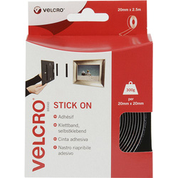 Velcro Velcro Stick On Tape Black 20mm x 2.5m - 15980 - from Toolstation