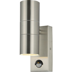 Zinc Wall Up & Down Light Stainless Steel IP44 PIR - 15998 - from Toolstation
