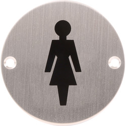 Eclipse Satin Stainless Steel Door Sign Female 75mm - 16003 - from Toolstation