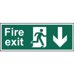 Fire Safety Sign Fire Exit Down 400x150 - 16439 - from Toolstation