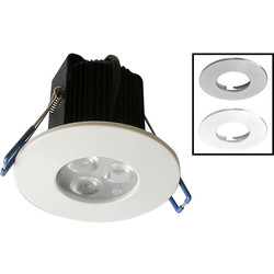 Robus ROBUS Tri LED Fire Rated 9W Dimmable Downlight 3x 3W Cool White 485lm - 16491 - from Toolstation