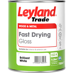 Leyland Trade Leyland Trade Fast Drying Water Based Gloss Paint Brilliant White 750ml - 16943 - from Toolstation