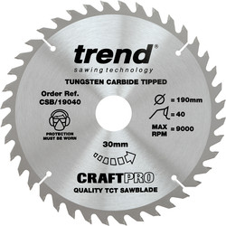 Craft Trend Craft Circular Saw Blade 190 x 40T x 30mm CSB/19040 - 16950 - from Toolstation