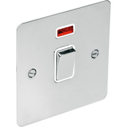 Flat Plate Polished Chrome 20A DP Switch Neon - 17082 - from Toolstation