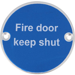 Eclipse Aluminium Fire Door Keep Shut Sign 76mm SAA - 17192 - from Toolstation