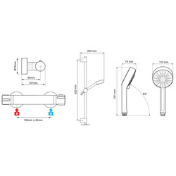 Mira Atom EV Thermostatic Bar Mixer Shower Valve & Kit