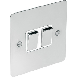 Flat Plate Polished Chrome 10A Switch 2 Gang 2 Way - 17424 - from Toolstation