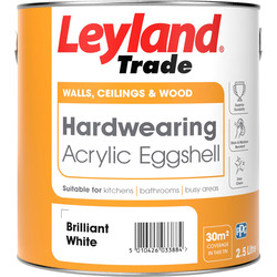 Leyland Trade Leyland Trade Hardwearing Acrylic Eggshell Paint Brilliant White 2.5L - 17428 - from Toolstation