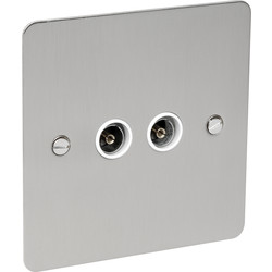 Flat Plate Plate Satin Chrome TV Socket Outlet TV Twin - 17537 - from Toolstation