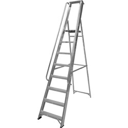 Lyte Industrial Platform Aluminium Step Ladder With Safety Handrail, 8 Tread, Closed Length 2.55m