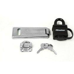 Master Lock Steel Hasp & Weather Tough Laminated Steel Padlock