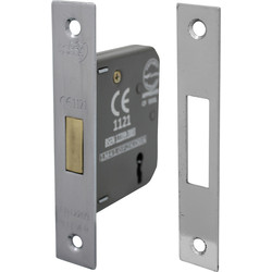 3 Lever Mortice Deadlock 63mm Nickel Plate - 18196 - from Toolstation
