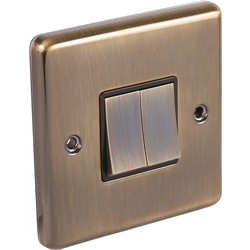 Wessex Electrical Antique Brass Switch 2 Gang 2 Way - 18221 - from Toolstation
