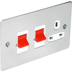Flat Plate 45A DP Switch & 13A Switched Socket  - 18257 - from Toolstation