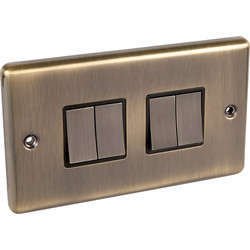Wessex Electrical Antique Brass Switch 4 Gang 2 Way - 18299 - from Toolstation