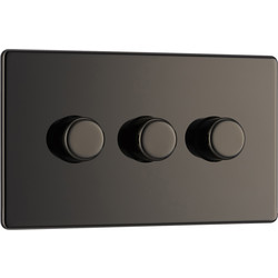 BG BG Screwless Flat Plate Black Nickel Dimmer Switch 3 Gang 2 Way - 18432 - from Toolstation