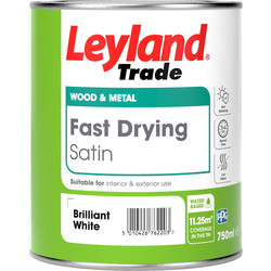 Leyland Trade Leyland Trade Fast Drying Water Based Satin Paint Brilliant White 750ml - 18447 - from Toolstation