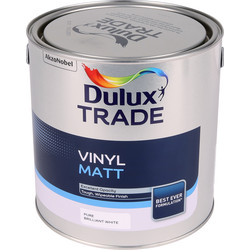 Dulux Trade Vinyl Matt Emulsion Paint Pure Brilliant White 2.5L