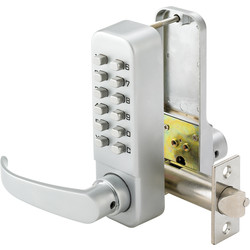 Easy Code Push-Button Lock with Lever Satin Chrome - 18556 - from Toolstation