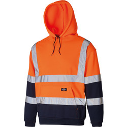 Dickies Two Tone High Vis Hoodie Orange / Navy Large