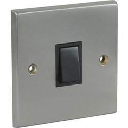 Satin Chrome / Black Switch 10A 1 Gang Intermediate - 18627 - from Toolstation