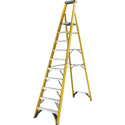 Youngman Youngman Fibreglass Platform Step Ladder 10 Tread SWH 4.08m - 18695 - from Toolstation