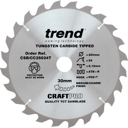 Craft Trend Craft Thin Kerf Circular Saw Blade 250 x 24T x 30mm CSB/CC25024T - 18749 - from Toolstation