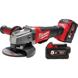 Milwaukee Milwaukee M18CAG115XPDB-502X 18V Li-Ion Cordless Fuel 115mm Angle Grinder 2 x 5.0Ah - 18812 - from Toolstation