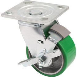 Unbranded Green Mould-On Poly Steel Hub Swivel + Brake 100mm - 18866 - from Toolstation