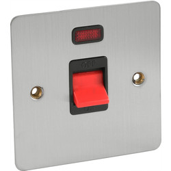 Axiom Flat Plate Satin Chrome 45A DP Switch Neon - 18871 - from Toolstation