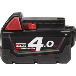 Milwaukee Milwaukee M18 18V Red Li-Ion Battery 4.0Ah - 19197 - from Toolstation
