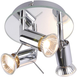 Mercury Mirror Plated GU10 3 Plate Spotlight