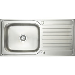 Maine Stainless Steel Single Bowl Kitchen Sink & Drainer 1000 x 500 x 200mm Deep - 19411 - from Toolstation