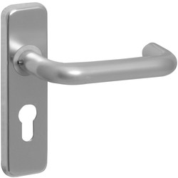 Aluminium Round Bar Door Handles Euro Lock Satin