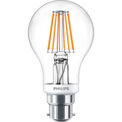 Philips Philips LED Filament A Shape Dimmable Lamp 8W BC (B22d) 806lm - 19573 - from Toolstation