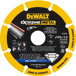 Dewalt DeWalt Extreme Metal Cutting Disc 115 x 1.3 x 22.23mm - 19663 - from Toolstation