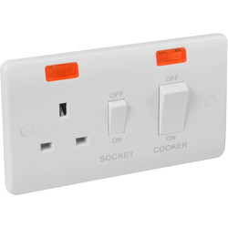 Scolmore Click Click Mode 45A DP Cooker Switch and Socket Neon - 20011 - from Toolstation