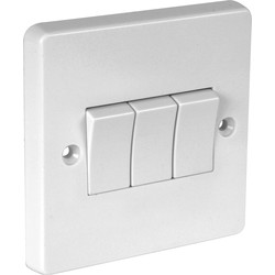 Crabtree Crabtree 10A Light Switch 3 Gang 2 Way - 20017 - from Toolstation