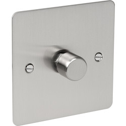Flat Plate Satin Chrome Dimmer Switch 400W 1 Gang 2 Way - 20170 - from Toolstation