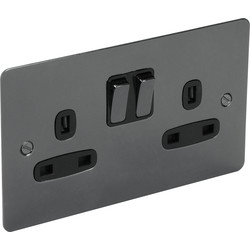 Flat Plate Black Nickel 13A Socket 2 Gang Switched SP - 20181 - from Toolstation