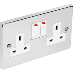 Chrome Switched Socket 2 Gang - 20207 - from Toolstation