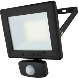 Wessex Electrical Wessex LED PIR Floodlight IP65 30W 2400lm Black - 20309 - from Toolstation