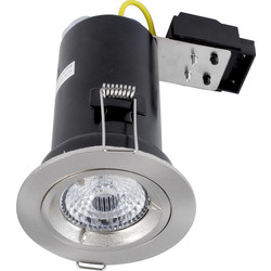 Meridian Lighting LED 9W Fire Rated Dimmable GU10 Downlight Satin Chrome 650lm - 20433 - from Toolstation