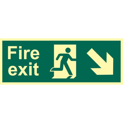 Photoluminescent Fire Exit Sign Arrow Down/Right - 20454 - from Toolstation